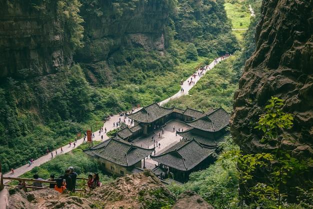 Wulong karst national geology park or the three natural bridges (tianlong bridge, qinglong bridge, heilong bridge) unesco nature world heritage in chongqing, china