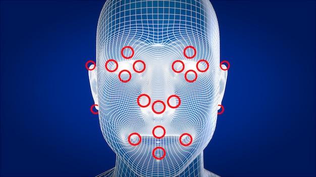 人間のx線、人体解剖学顔認識、3 dイラストレーション