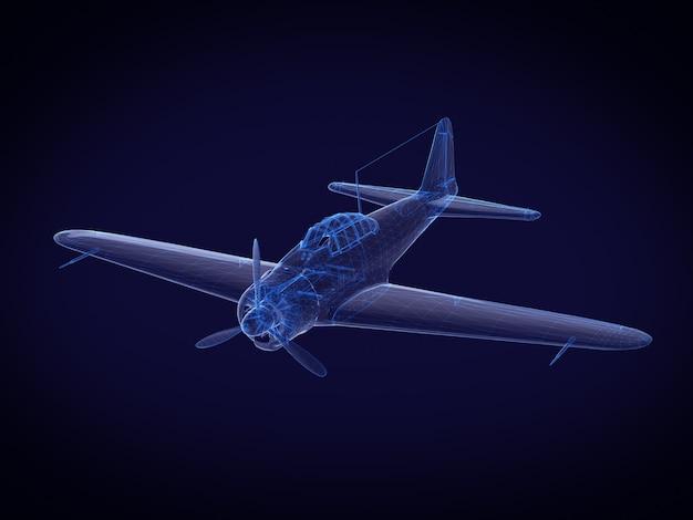 青いx線航空機。 3dレンダリング