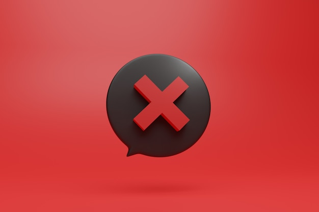 X no dont negative red sign symbol in 3d style illustration in dialog box with vivid red background