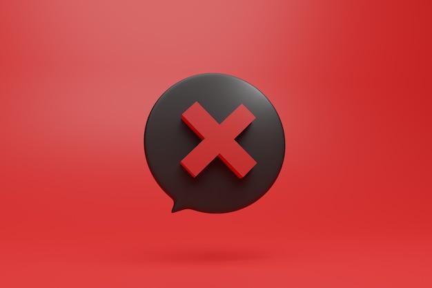 X鮮やかな赤の背景を持つダイアログボックスの3dスタイルの図で負の赤い記号記号を禁止しないでください