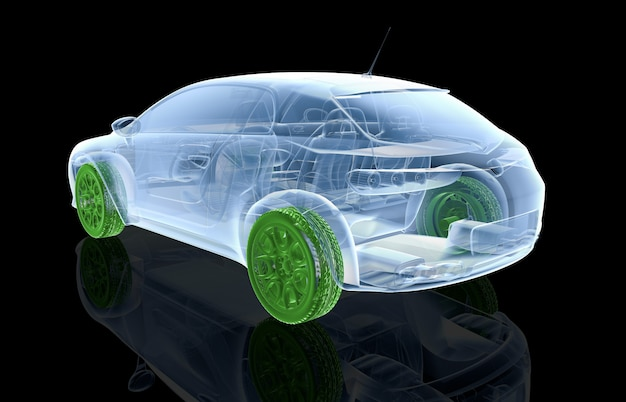 X-ray car with green wheels
