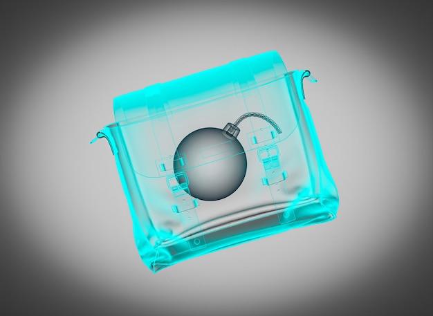 Рентгеновский снимок чемодана с бомбой. концепция безопасности. 3d визуализация