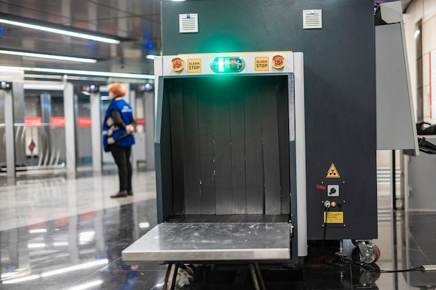 X ray metal detector check baggage in airport or public place b