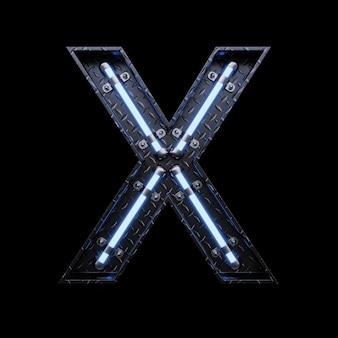 青いネオンのネオンライト文字x。