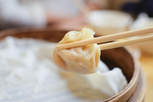 Xiaolongbao on plate dimsum. dumpling.