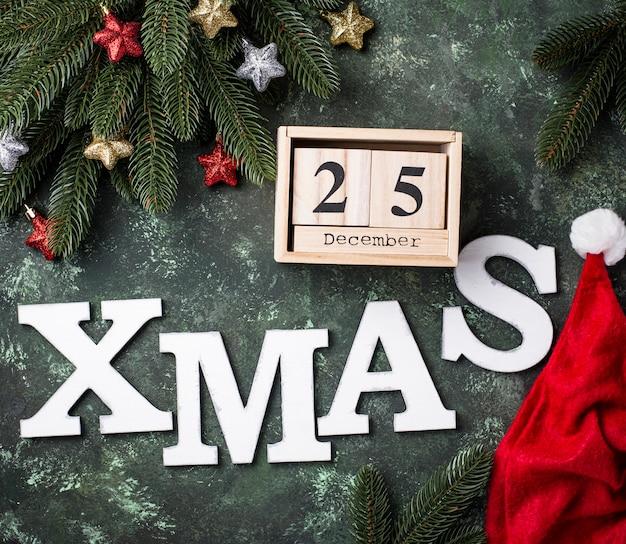 クリスマスの背景に文字xmas