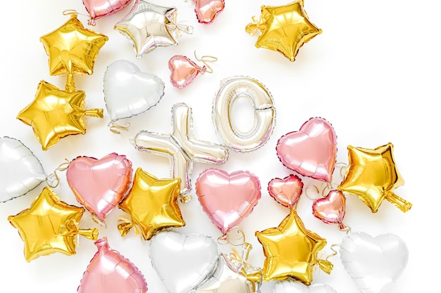 Xo foil balloon letters and air balloons of heart shaped and stars