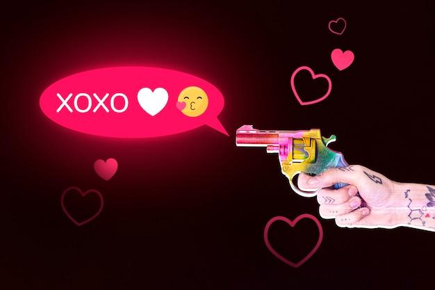 화려한 총 미디어 믹스를 발사하는 'xoxo'꼬리 치는 텍스트 사람