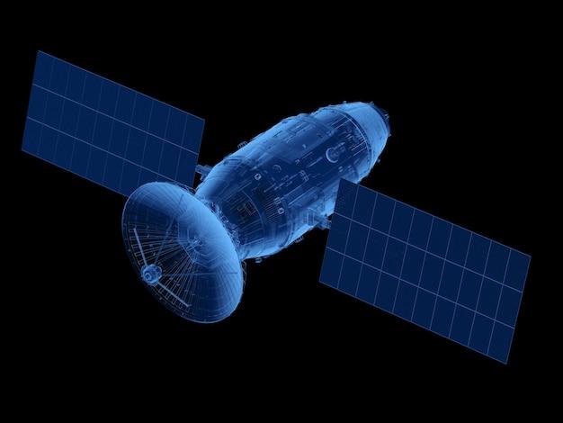 Рентгеновская спутниковая тарелка с антенной, изолированной на черном фоне