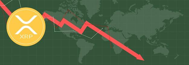 マルチカラーのメトリックのxrpリップルとマルチカラーの背景および世界地図のグラフ