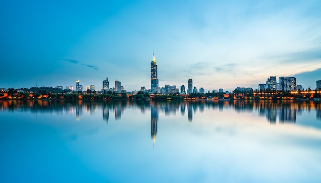 Xuanwu lake and skyline of urban architecture in nanjing