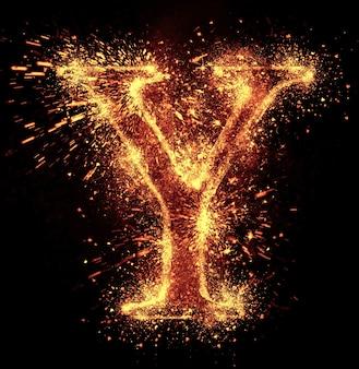 Y文字の火花は黒に分離されています