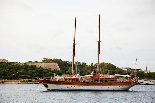 Yacht against manoel island. malta
