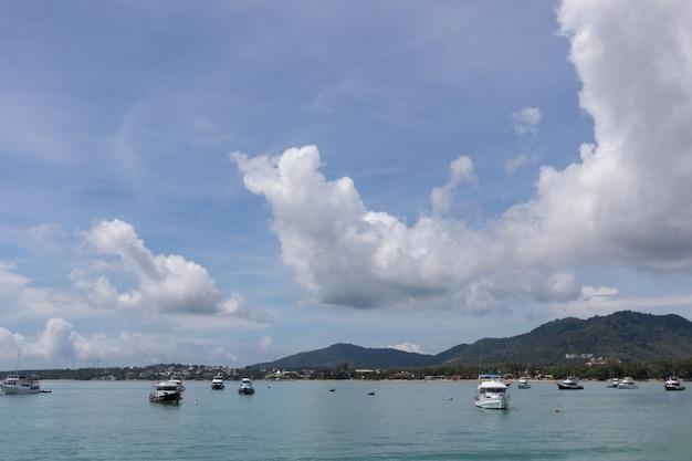 Yacht cruise club pier on sunny day at phuket, thailand