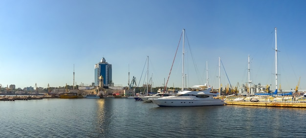 Yacht parking in the seaport of odessa, ukraine
