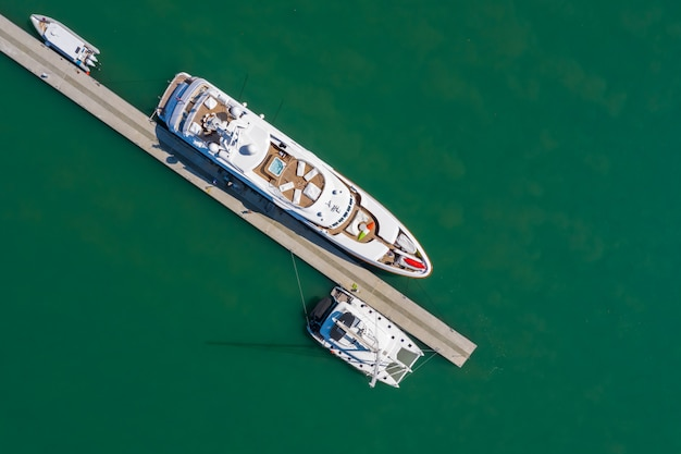 Yacht and speedboat parking on the sea