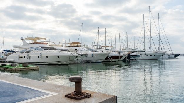 Yachts anchored in the port