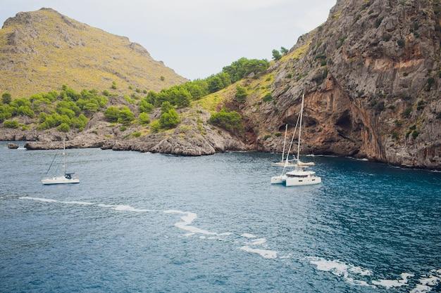 Yachts in the bay of sa calobra, mallorca majorca , spain.