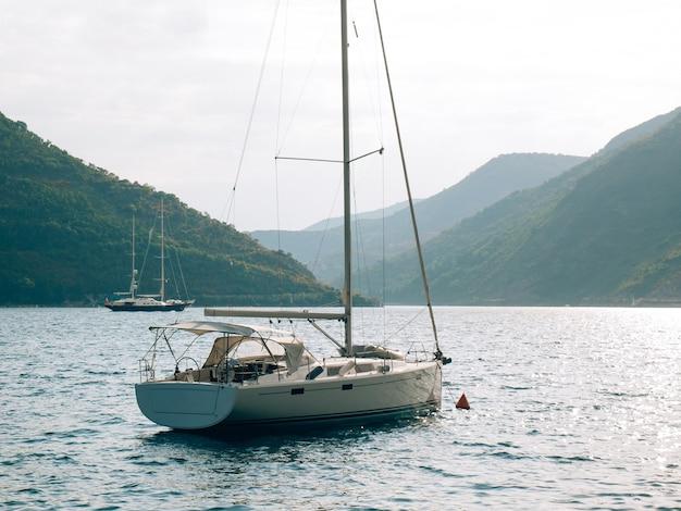 Yachts boats ships in the bay of kotor