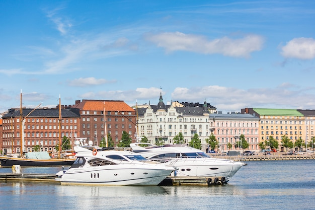 Yachts and buildings in helsinki