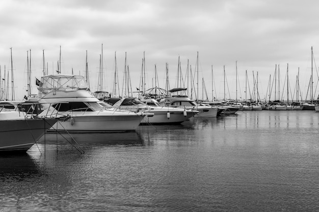Yachts in a harbour in turkey. black and white. copy space