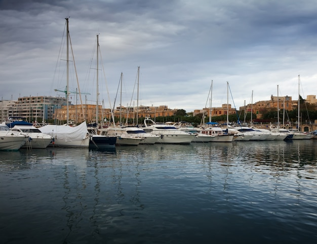 Yachts  lying at  harbour