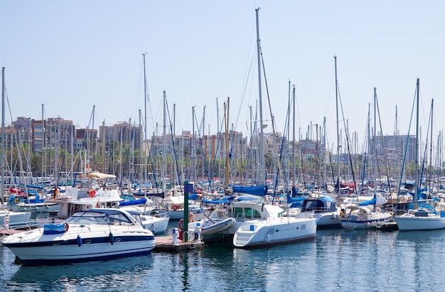 Yachts lying at port vell.