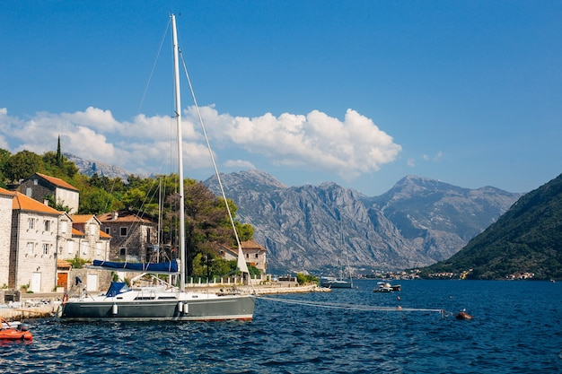 Yachts near the old town of perast