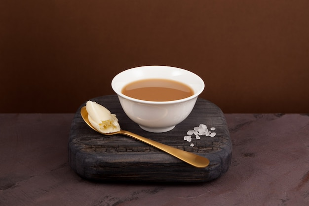 Yak butter tea, known as