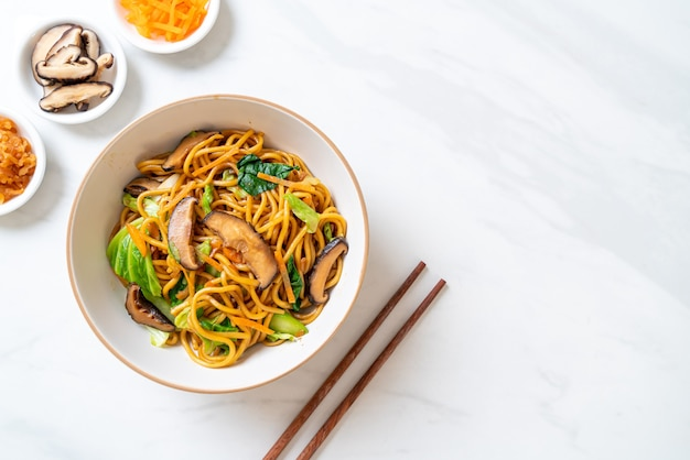 Yakisoba noodles stir-fried with vegetable in asian style, vegan and vegetarian food