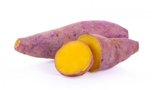 Yam potato on white