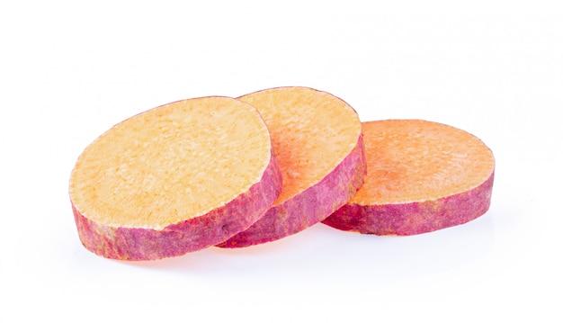 Yams potato on isolated white