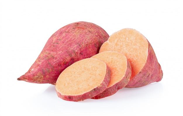 Yams potato on white wall