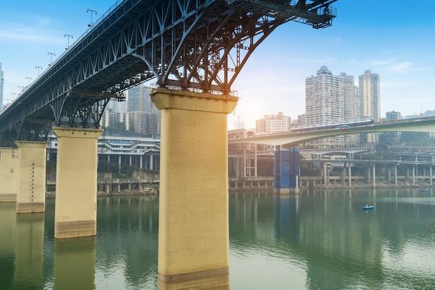 Yangtze river bridge and chongqing city scenery