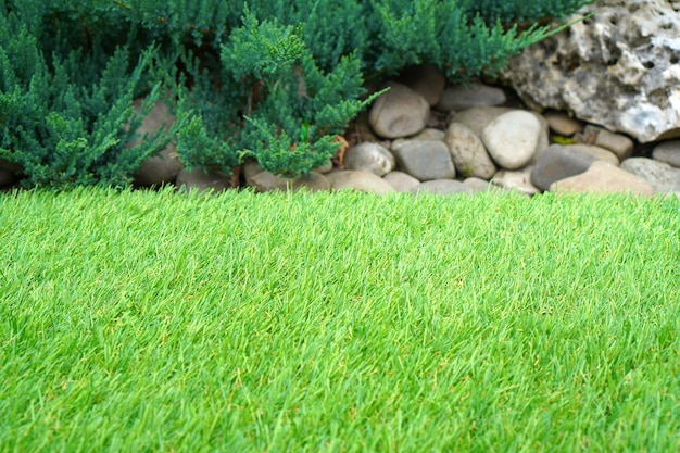 Yard greenering with the synthetic artificial turf