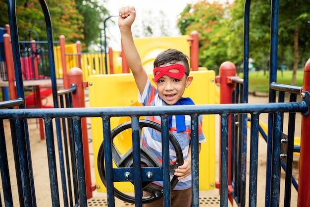Детская площадка yard superhero freedom child boy concept