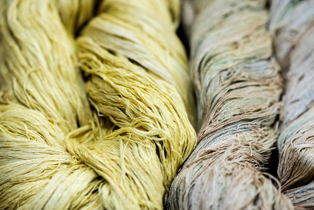 Yarn from cotton and natural dyes.
