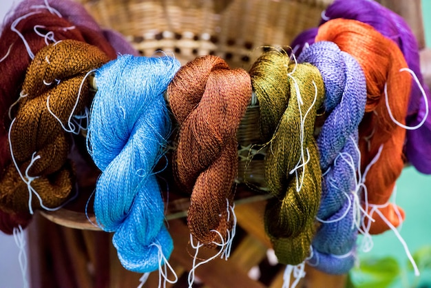 Yarn from cotton silk cocoons and natural dyes.