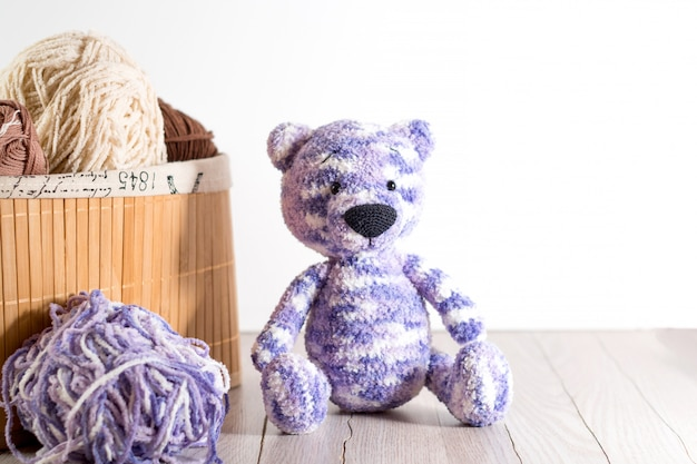 Yarn for knitting and handmade bear toy