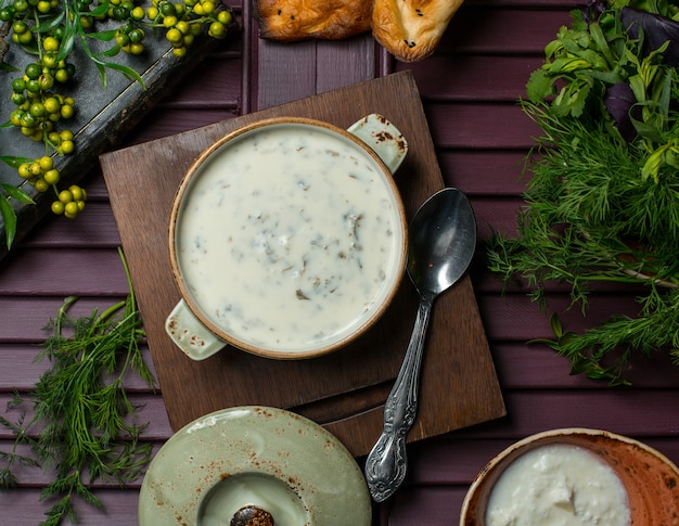 トップビューyayla、ヨーグルトから作られたdovgaスープ