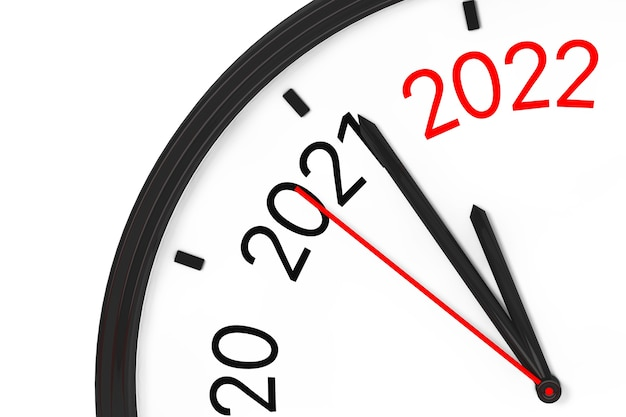The year 2022 is approaching. 2022 sign with a clock on a white background. 3d rendering