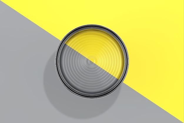 Модные цвета 2021 года. подсвечивающаяся желтая и предельно серая краска может вид сверху на предельно сером и светящемся желтом фоне. 3d рендеринг