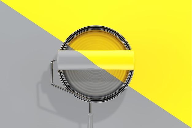 Модные цвета 2021 года. подсвечивающаяся желтая и предельно серая краска может вид сверху с малярным валиком на предельно сером и светящемся желтом фоне. 3d рендеринг