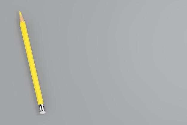 Модные цвета 2021 года. желтый карандаш с подсветкой на предельно сером фоне. 3d рендеринг