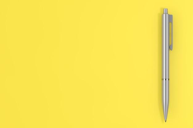 Модные цвета 2021 года. совершенная серая ручка на светящемся желтом фоне. 3d рендеринг