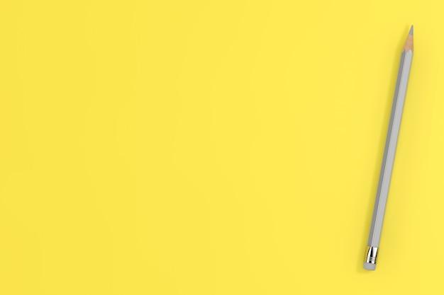 Модные цвета 2021 года. ultimate graypencil на светящемся желтом фоне. 3d рендеринг