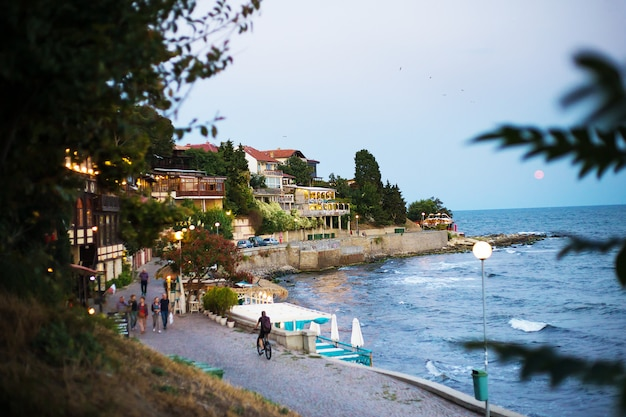 Year old nessebar-evening old town. bulgaria