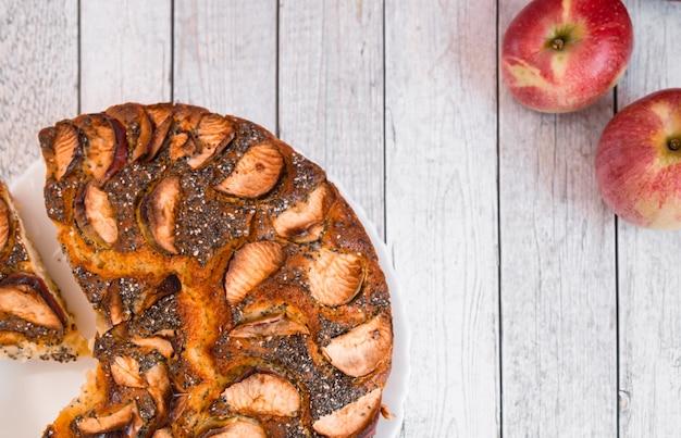 Year round  bakery recipe background classic american apple pie fruits slices garnish decoration