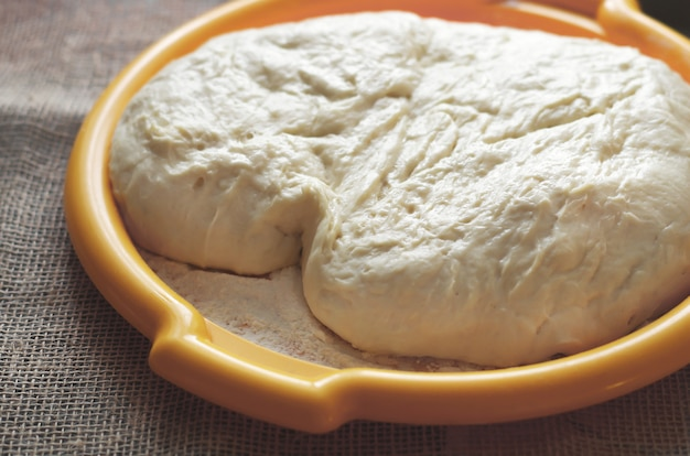 Yeast dough on a plate